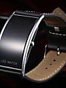 남성용 손목 시계 석영 달력 LED 가죽 밴드 블랙