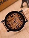 Homens Relógio de Pulso Quartzo Relógio Casual Couro Banda Amuleto Cáqui