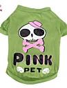 Кошка Собака Костюмы Футболка Инвентарь Одежда для собак Черепа Мультипликация Зеленый Хлопок Костюм Для домашних животных Косплей