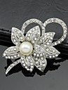 Women\'s White Rhinestone Crystal Pearl Flower Brooch for Wedding Party,Fine Jewelry