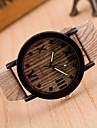 Women\'s Fashion Watch Wood Watch Quartz Leather Band Vintage Brown Khaki Strap Watch