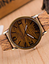 Women\'s Fashion Watch Wood Watch Quartz Leather Band Vintage Brown Khaki