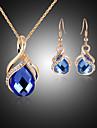 Κρυστάλλινο Κοσμήματα Σετ - Cubic Zirconia, Με Επίστρωση Ροζ Χρυσού, Προσομειωμένο διαμάντι Πάρτι, Μοντέρνα Περιλαμβάνω Μπλε Για Πάρτι Ειδική Περίσταση Επέτειος / Cercei / Κολιέ