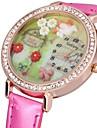 Женские Модные часы Кварцевый PU Группа Блестящие Цветы Черный Белый Красный Коричневый
