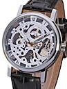 WINNER® Men's Elegant Silver Dial Black Leather Band Manual Mechanical Skeleton Wrist Watch Cool Watch Unique Watch