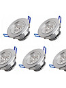 3W LED Recessed Lights 3 High Power LED 350 lm Warm White Cold White K AC 100-240 V