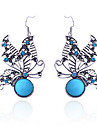 Women\'s Crystal Drop Earrings - Crystal, Silver Plated, Imitation Diamond Butterfly, Animal Luxury Blue For Party / Daily / Casual / Turquoise