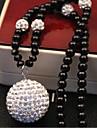 Femme Colliers/Sautoir Collier de perles Perle Imitation de perle Strass Alliage Blanc Noir Bijoux PourMariage Soiree Quotidien