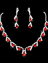 Žene Crvena Sintetička Rubina Briolette Nakit Set - Kubični Zirconia, Imitacija dijamanta Ispustiti dame, Zabava uključiti Ogrlice s privjeskom Naušnica Crvena Za Vjenčanje Maškare Zaručnička zabava