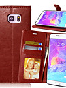 For Samsung Galaxy Note Card Holder / Wallet / with Stand / Flip Case Full Body Case Solid Color PU Leather SamsungNote 5 / Note 4 / Note