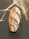 Dam Statement Ring - Kristall, Försilvrad, Guldpläterad Lyx, Mode 7 Silver / Brun Till Party Dagligen Casual / Diamantimitation