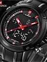 NAVIFORCE Муж. Наручные часы Кварцевый Защита от влаги LED Нержавеющая сталь Группа Роскошь Черный
