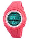 Mulheres Relogio Esportivo Digital LED Calendario Cronografo Impermeavel alarme Relogio Esportivo PU Banda Preta Azul Verde RosaVerde