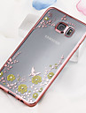 For Samsung Galaxy Case Rhinestone / Plating / Transparent Case Back Cover Case Flower TPU Samsung S6 edge plus / S6 edge