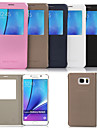 Case For Samsung Galaxy Samsung Galaxy Note with Stand with Windows Full Body Cases Solid Color PU Leather for Note 5