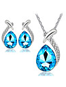 Women\'s Crystal Wedding Party Birthday Engagement Gift Daily Casual Earrings Necklaces Costume Jewelry