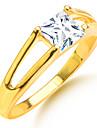 Homme Femme Couple de Bagues Zircon Plaque or Imitation Diamant Forme Carree Forme Geometrique Bijoux Pour Mariage Soiree Quotidien