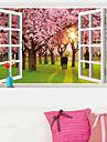 3D Fake Window Cherry Tree Wall Stickers