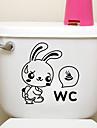 창조적 인 작은 토끼 화장실 스티커