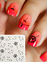 5PCS Flying Dandelion Nail Art Water Decals Transfer Stickers Black Nail Art Sticker Tattoo Decals