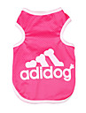 Dog Shirt / T-Shirt Dog Clothes Fashion Solid Letter & Number Gray Blue Pink Costume For Pets