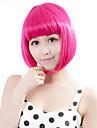 Sentetik Peruklar Düz Pembe Bob Saç Kesimi Sentetik Saç Pembe Peruk Kadın\'s Bonesiz Gül