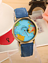 Women\'s Fashion Watch Quartz PU Band Vintage World Map Black White Blue Red Green Yellow