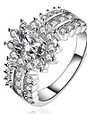 925 Silver Zirconia Statement Rings Wedding / Party / Daily / Casual 1pc