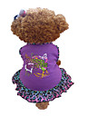 Dog Dress Dog Clothes Heart Animal Purple Cotton Costume For Summer