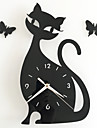 Diy Mirror Wall Clock Bedroom Special Living Room Mute Wall Clock Cartoon Cute Black Cat Wall Stickers Clock