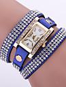 Women\'s Layered Crystal Leather Band White Case Analog Quartz Bracelet Fashion Watch