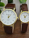 Couple's Dress Watch Fashion Watch Quartz Casual Watch PU Band Vintage Black Brown