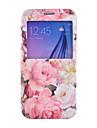 Para Samsung Galaxy S7 Edge Porta-Cartão / Carteira / Com Suporte / com Visor / Flip Capinha Corpo Inteiro Capinha Flor Couro PU Samsung