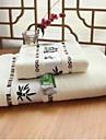 Frisse stijl Badlaken Set, Jacquard Superieure kwaliteit 100% Bamboevezel Jacquard Geweven Handdoek