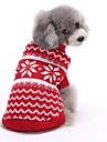 Кошка Собака Свитера Одежда для собак Хлопок Весна/осень Зима Очаровательный Рождество Новый год В полоску Красный Синий Для домашних