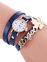 Women\'s Fashion Watch Bracelet Watch Casual Watch / Quartz PU Band Cool Casual Black White Blue Red Orange Brown Green Yellow