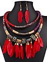 Pentru femei Zirconiu Cubic Set bijuterii - Zirconiu, Argilă femei, European, Modă, Festival / Sărbătoare Include Cercei Picătură Coliere Negru / Rosu / Albastru Pentru Nuntă Petrecere Zilnic