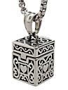 estilo punk pingente de colar de aco inoxidavel 316L caixa de carving retro forma de joias