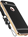 For Apple iPhone 7 Plus 7 6 Plus 6S 5 5S SE Solid Color Genuine Leather Plating Frame Back Cover Case with Lanyard