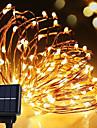 солнечная сила шнур света водоустойчивая водить полоса 10m 100led медная проволочная лампа теплый белый для наружных огней украшения