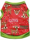 Perros Camiseta Ropa para Perro Invierno Verano Reno Adorable Moda Navidad Negro Verde