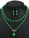 Femme Set de Bijoux Boucles d\'oreille goutte Pendentif de collier Mode Ajustable Europeen Long Elegant bijoux de fantaisie Perle Bijoux 1