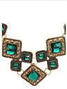Модное ожерелье с квадратными камнями на короткой цепочке