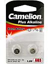 camelion의 AG3 버튼 코인 셀 알카라인 건전지 2 팩 1.2V