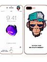 para Apple iPhone 7 4,7 vidro temperado com frente borda suave cobertura de tela cheia e protetor de tela padrao de macaco comida de volta