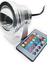1pc 10w rgb couleur lumieres sous-marines impermeable a l\'eau dimmable eclairage exterieur telecommande ac / dc12v