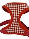 Chat Chien Harnais Ajustable / Reglable Respirable Tartan Geometrique Textile Tissu Noir Rouge