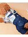 Hund Jumpsuits Hundetøj Plæd / Tern Mørkeblå Bomuld Kostume Til Forår & Vinter Sommer Herre Dame Afslappet / Hverdag Mode