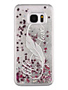 Case For Samsung Galaxy S8 Plus S8 Flowing Liquid Transparent Pattern Back Cover Glitter Shine Feathers Hard PC for S8 Plus S8 S7 edge S7