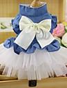 고양이 강아지 드레스 턱시도 강아지 의류 파티 카우보이 캐쥬얼/데일리 웨딩 리본매듭 화이트 핑크